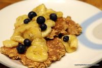 Oat Cakes with Caramelized Banana & Blueberries