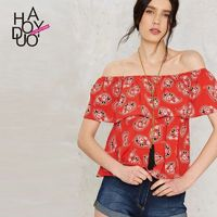 Summer 2017 new style sexy neck fashion printed blouse blouse - Bonny YZOZO Boutique Store