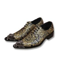 Mens Printed Leather Dress Oxfords Shoes