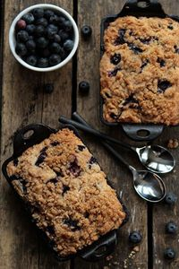 Blueberry Buckle baked in mini cast iron pans.