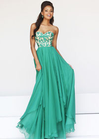 Emerald Embroidered Chiffon Bodice Strapless Homecoming Dress