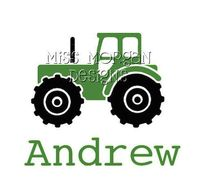 Personalized tractor iron on decal vinyl for shirt. $7.00, via Etsy.