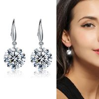 925 Sterling Silver Elegant Zirconia Drop Earring For Women Party Jewelry Gift $7.08