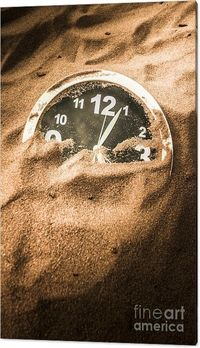 Lost Time Canvas Art | Forgotten clock face covered over by the passing of days. Buried in the sands of time | Jorgo Photography #clockart #sandsoftime #timeless #historyart #hiddenhistory #wallart #stilllife #sweptaway