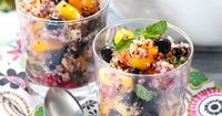 I am loving quinoa lately for many of my meals and desserts. This quinoa mixed fruit salad is a recipe that I will be making all summer. Extremely easy, simple