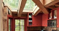love the open ceiling - esp if I had a mtn house - amazing!!!