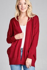 Ladies fashion long dolmen sleeve open front w/pocket sweater cardigan $28.01