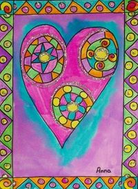 "Glitter and Colorful Framed Heart - The link offers no instructions but it looks easy enough to duplicate. Use bright paint and then outline with permanent marker. Add glittery detail with white glue. (From exhibit ""Laurel Burch Valentines"" ..."