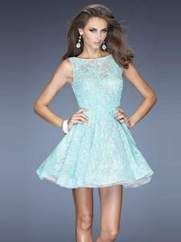 Scoop Short Lace A Line Cocktail Homecoming Dress