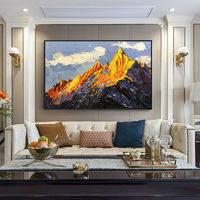 Snow mountains Peaks Original Oil blue painting on canvas art Palette Knife abstract painting Large Texture Wall Pictures cuadros abstractos $148.75