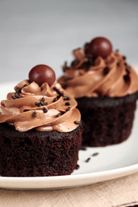 MALTED CHOCOLATE CUPCAKES WITH TOASTED MARSHMALLOW FILLING