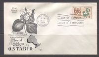 Canada #418 (SG#543) 5c Ontario 1964-1966 Provincial Emblems Issue Rose Craft First Day Cover XF-91 $1.99