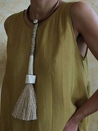 bone and silk threads pendant necklace -:- AMALTHEE -:- n° 64