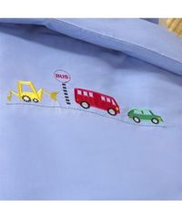 "Baroo Bus Stop Single duvet cover and pillowcase set The Bus Stop'""' has a car bus and digger motifs embroidered onto the blue duvet cover for full size single beds. It is supplied with a matching pillowcase. Made in the UK from 100% cott..."