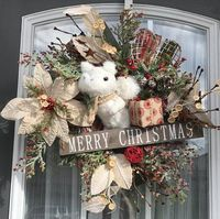 Rustic Squirrel Wreath-Christmas Weath- Poinsettia Wreath- Rustic Wreath- Holiday Wreath- Xmas Wreath- Chicken wire Wreath- Pine Wreath $100.00