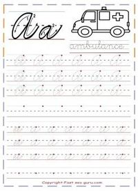 Printable cursive handwriting practice sheets letter a for kindergarten.free cursive tracing