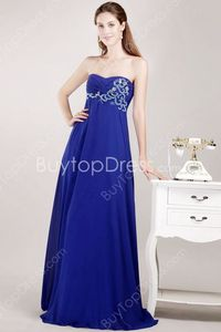 Exclusive Empire Royal Blue Chiffon Sweetheart Maternity Evening Dresses With Beads