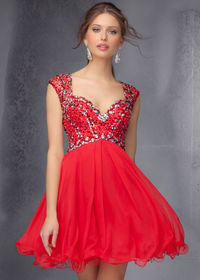 Short Red Hot Cap Sleeves Sparkly Beaded Top Mori Lee 9273 Party Dress