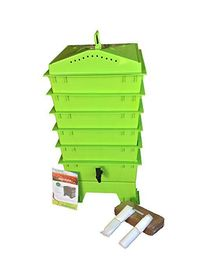 VermiHut 5-Tray Worm Compost Bin, Lime Green
