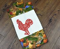 Embroidered Kitchen Towel - Country Kitchen Chickens $6.99