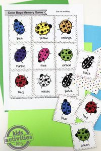 What better way to learn colors and play than a fun Color Bugs Memory Game?