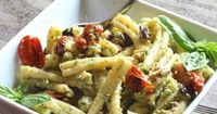 Casarecce Pasta with Pesto, Eggplant and Slow Roasted Tomatoes