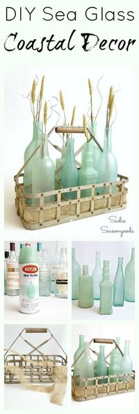 DIY Sea Glass Coastal Decor. Transform the simple wine bottles into stunning, gorgeous sea glass bottles with the frost etch effect paint! Super easy DIY upcycle craft to celebrate summer! #fakeseaglassdiy #seaglassdiy #paintedwineglasses
