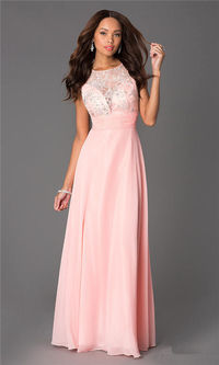 Long Peach Lace DQ-8739 High Neck Prom Gown On Sale