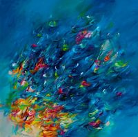 Below the surface, a Oil on by Victoria Horkan from United Kingdom. It portrays: , relevant to: blue, bright, impressionistic, modern Impressionistic painting b