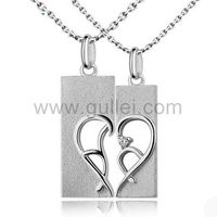 Gullei.com Half Heart Promise Necklaces for Couples with Names Set of 2