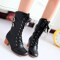 BUCKLES WHITE LACE UP BLOCK HIGH HEELS SHOES MID CALF VINTAGE BOOTS Price:$39.99 Style: Vintage  Color: Black / Beige / White  Upper Material: PU Lining Material: Man-made Short Plush  Outsole: Rubber  Heel Type: Block