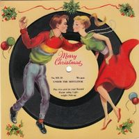 """A 1950s Card that you can actually play on your record player. The lyrics to the song warn: """"When you go dancing, be careful how you go, The..."""