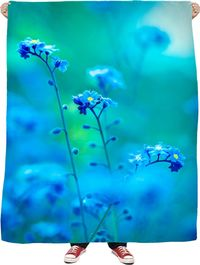 ROFB Blues and Flowers Fleece Blanket $65.00