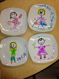 My little ones are so excited about the simple plates that they made for Mother's Day this year. I bought ceramic salad plates at the Christmas Tree Shop for $1