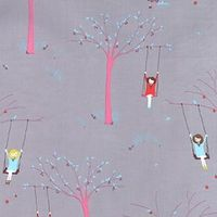 Such cute wallpaper for the bean somewhere (Girl on a Tree Swing Scooter Grey from the Sherbet Pips collection by Aneela Hoey for Moda)