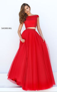 2016 Red Sherri Hill 50315 Cap Sleeve Two Piece Ball Gowns