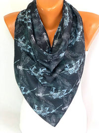 Scarf, Shawl, infinity Scarf, Dragonfly Printed Scarf, Drangonfly Pattern Scarves, Women Fashion Accessories, Lightweight Summer Scarf