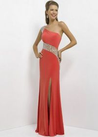Watermelon One Shoulder Illusion Back Beaded Dress with Slit Leg