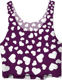 ROWC Hearts Dark Purple Crop Top $37.00