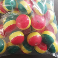 Pack of 50 Round Mini Rasta Colours Stripe Beads. 12mm Ghana Jamaica Reggae Spacers. £8.99