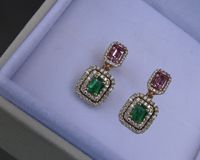 14K Drop Earrings Pink Sapphire Emerald with Diamonds surrounding Dangle Earring $2860.00