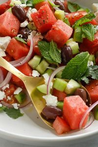 """It's not an immediately obvious combination �€"""" watermelon, cucumber, olives and feta �€"""" but one bite will leave you convinced that this savory-sweet summer salad"""