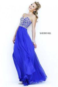 Long Blue Sherri Hill 8555 Beaded Prom Dress For Sale