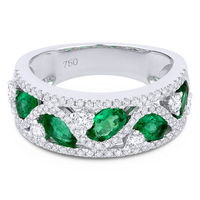2.07ct Oval Cut Emerald & Round Diamond Pave Thick Statement Band in 18k White Gold