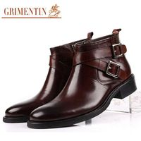 GRIMENTIN Brand Large size 46 fashion mens ankle boots genuine leather double buckle black brown men shoes $130.42