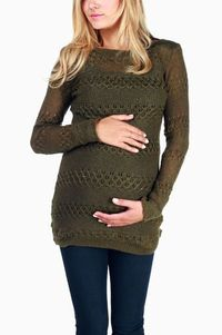 Olive Green Sparkle Accent Maternity Sweater