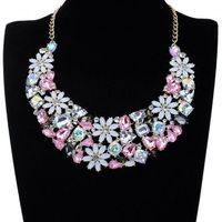 Fashion Jewelry Flower Crystal Charm Cluster Pendant Choker Bib Necklace New