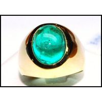 Cocktail Gemstone 18K Yellow Gold Unique Emerald Ring [RB0009]