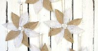 Burlap Poinsettias- Rustic Christmas Decor and Ornament