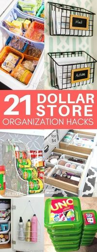 A roundup of the best dollar store organization hacks you'll immediately want to copy! Dollar store organization tips for bathroom drawers, your freezer...